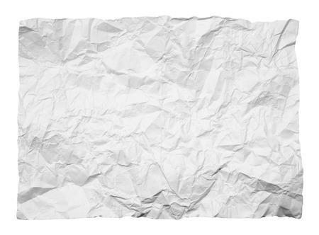 crumpled white paper on white background Stock Photo