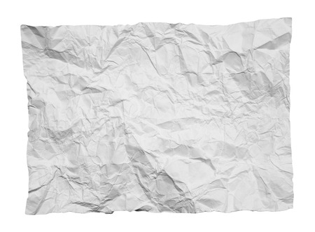 crinkles: crumpled white paper on white background Stock Photo