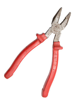 red pliers on white background photo