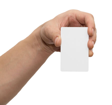white card in hand on white background photo