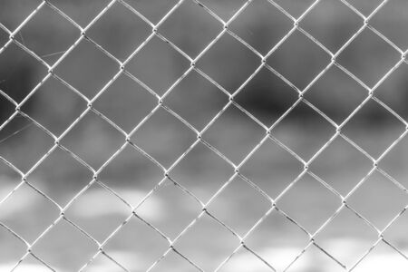 chained link fence: wire mesh fence Stock Photo