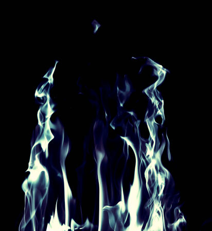gas fireplace: blue flame fire on black background