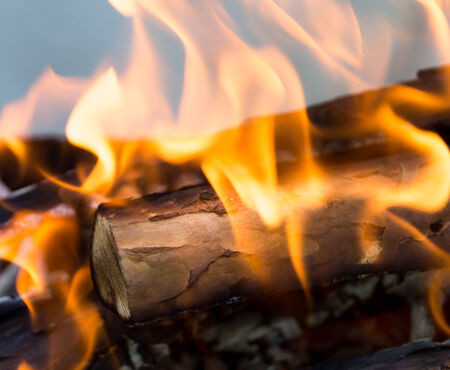 comfortableness: fire from burning firewood