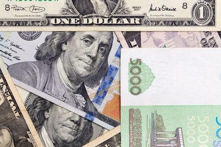 American dollars and Uzbek money