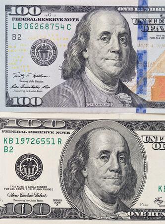 ben franklin money: hundred dollars. close-up
