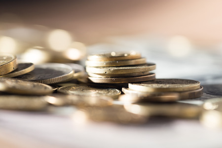 money euro: coins and dollars Stock Photo