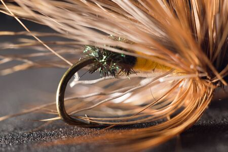 hand line fishing: fly fishing. close-up