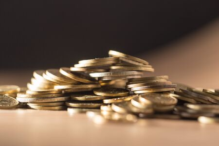 coin stack: coins close up  Stock Photo