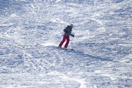 deep powder snow: skier skiing Stock Photo