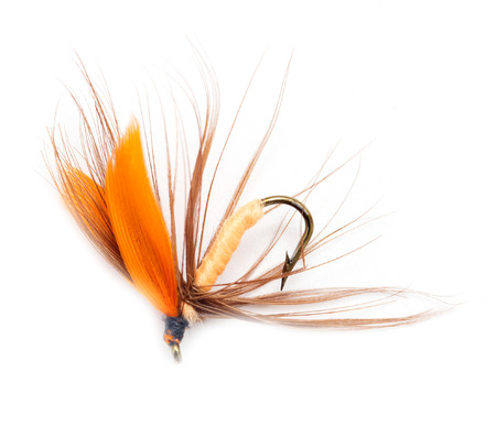fishing catches: Fluffy fly fishing hook isolated on white Stock Photo