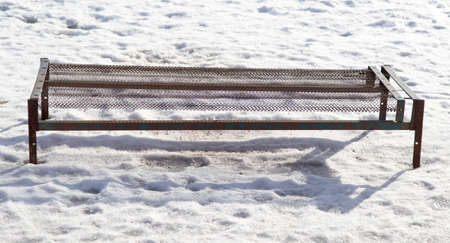 slump: Bed in the snow Stock Photo