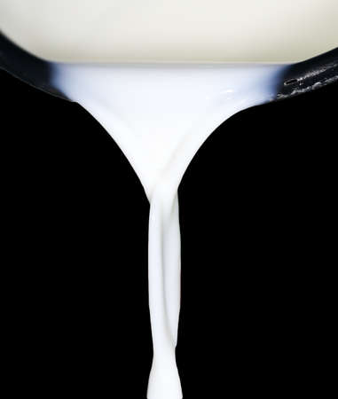 spurt: Milk on a black