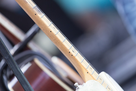 concert flute: acoustic guitar Stock Photo