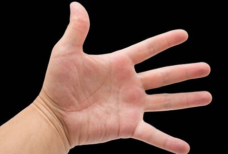 finger tip: hand on a black background Stock Photo