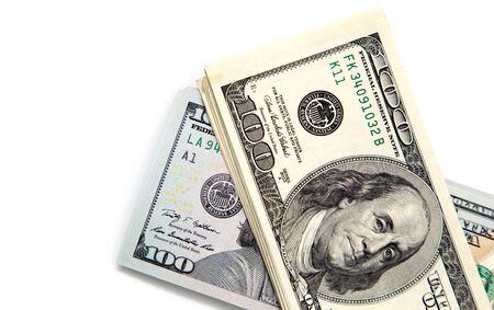 dollar: dollaro fattura centinaia su uno sfondo bianco