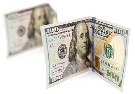 hundred dollar bill: hundred dollar bill on a white background Stock Photo