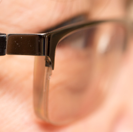 view from behind: view from behind his glasses. close Stock Photo