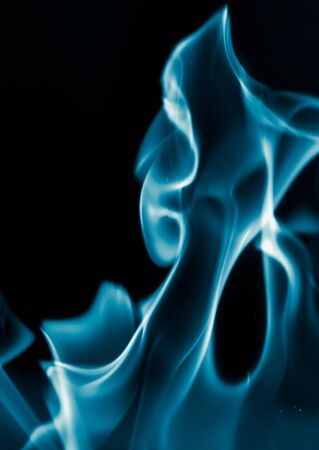 blue flame: blue flame fire on a black background Stock Photo