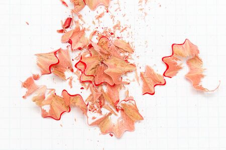 shavings: pencil shavings on white paper. close Stock Photo
