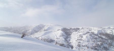 the snowy mountains: Snowy mountains in Kazakhstan Stock Photo