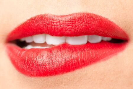 beautiful teeth: Beautiful lips with red lipstick