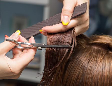 cutting hair: Female hair cutting scissors in a beauty salon