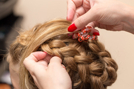 hair braid: braided pigtails in the beauty salon