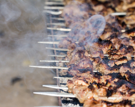 chargrill: shish kebab on a stick Stock Photo