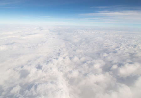 window light: clouds. view from the airplane Stock Photo