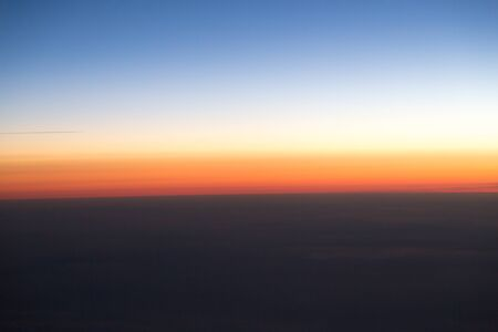 scenic: sunset view from the airplane Stock Photo