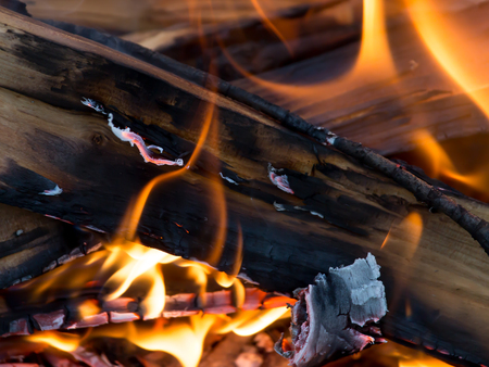 smolder: flames of fire from wood Stock Photo