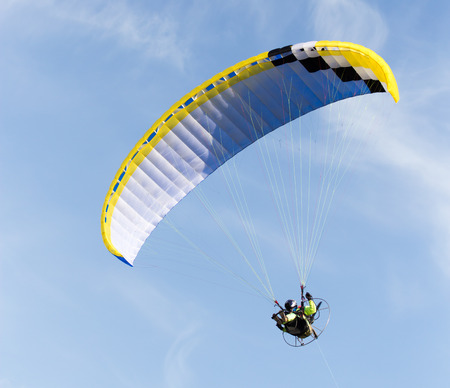 parachute jump: parachute flying in the sky