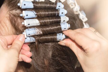 blonde streaks: locks of hair in a beauty salon Stock Photo