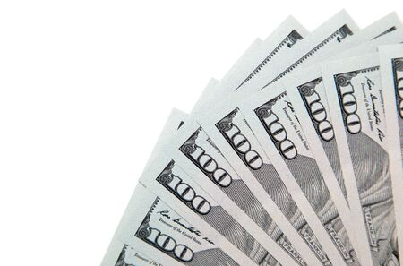 dollar symbol: hundred dollar bill on a white background Stock Photo