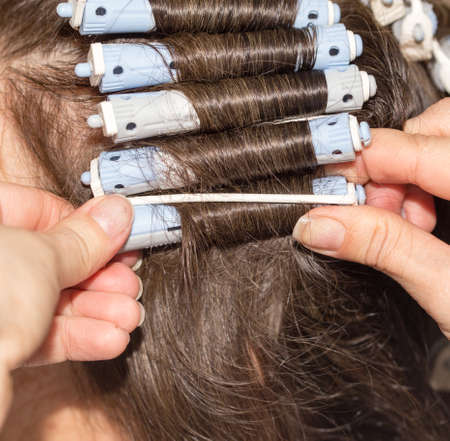 permanent: Permanent hair in a beauty salon Stock Photo
