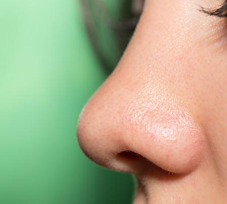 Women's nose, close-up 스톡 콘텐츠