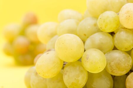 white grape: grapes on a yellow background Stock Photo