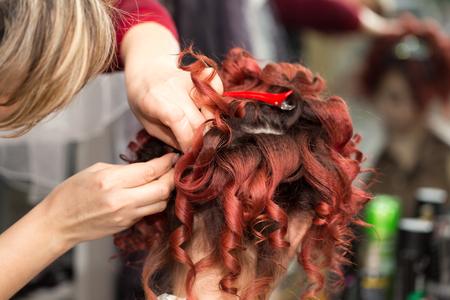 curls: curls of hair in a beauty salon