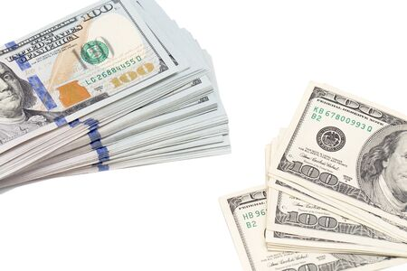 banco dinero: De dólares en un fondo blanco
