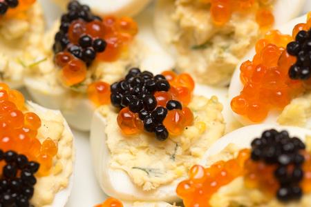 caviar: red caviar and black caviar Stock Photo