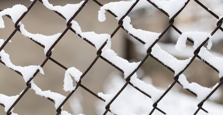 frost bound: Snow on fence in winter
