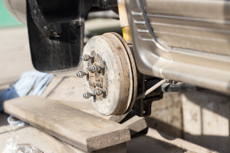 disassembled: disassembled car wheel Stock Photo