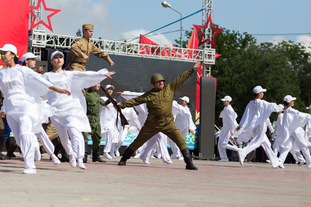 flower parade: SHYMKENT city, KAZAKHSTAN MAY 9, 2015: Gala concert with the participation of theater actors, Victory Day, in memory of the soldiers of the Great Patriotic War. Victory Day celebration in the city of Shymkent, Kazakhstan May 9, 2015