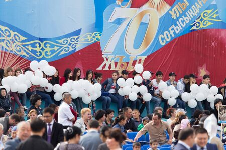 nazi flag: May 9, 2015. The celebration of 70 anniversary of the Victory in the Nazi Germany. Kazakhstan. Shymkent