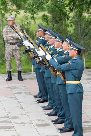 flower parade: SHYMKENT , KAZAKHSTAN MAY 9, 2015: Victory Day in memory of the soldiers of the Great Patriotic War. Victory Day celebration in the city of Shymkent, Kazakhstan May 9, 2015