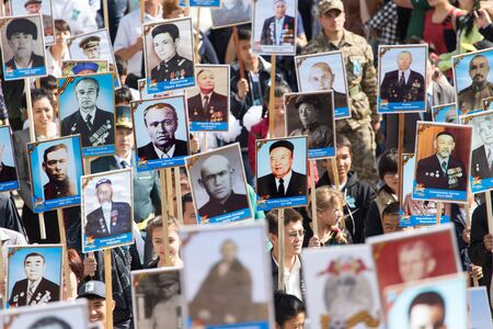 immortal: SHYMKENT city, KAZAKHSTAN MAY 9, 2015: Victory Day in memory of the soldiers of the Great Patriotic War. The photograph izobrazhon Immortal Regiment