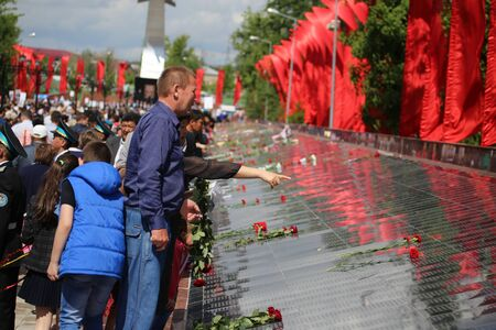 immortal: May 9, 2015. The celebration of 70 anniversary of the Victory in the Nazi Germany. Kazakhstan. Shymkent