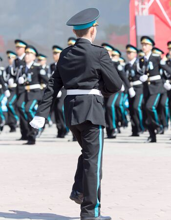 nazi flag: SHYMKENT city, KAZAKHSTAN MAY 9, 2015: Gala concert with the participation of the military, the Victory Day, in memory of the soldiers of the Great Patriotic War. Victory Day celebration in the city of Shymkent, Kazakhstan May 9, 2015 Editorial