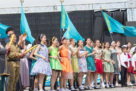 immortal: SHYMKENT city, KAZAKHSTAN MAY 9, 2015: Gala concert with the participation of theater actors, Victory Day, in memory of the soldiers of the Great Patriotic War. Victory Day celebration in the city of Shymkent, Kazakhstan May 9, 2015
