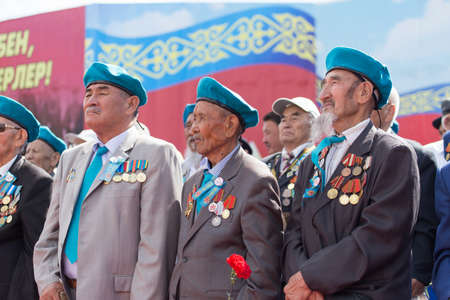 immortal: SHYMKENT city, KAZAKHSTAN MAY 9, 2015: Veterans of War. Victory Day. The memory of soldiers of the Great Patriotic War. Victory Day celebration in the city of Shymkent, Kazakhstan May 9, 2015 Editorial